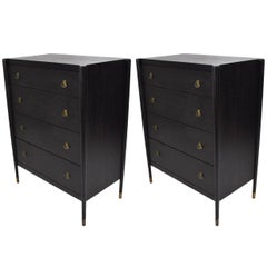 Pair of Brown Saltman Highboys Chest of Drawers Hollywood Regency Era