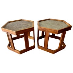 Pair of Brown Saltman Tables by John Keal