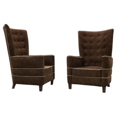 Pair of Brown Suede Armchairs, Guglielmo Ulrich, 1936