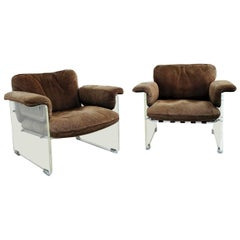 Pair of Brown Suede Pace Chairs with Lucite Arms
