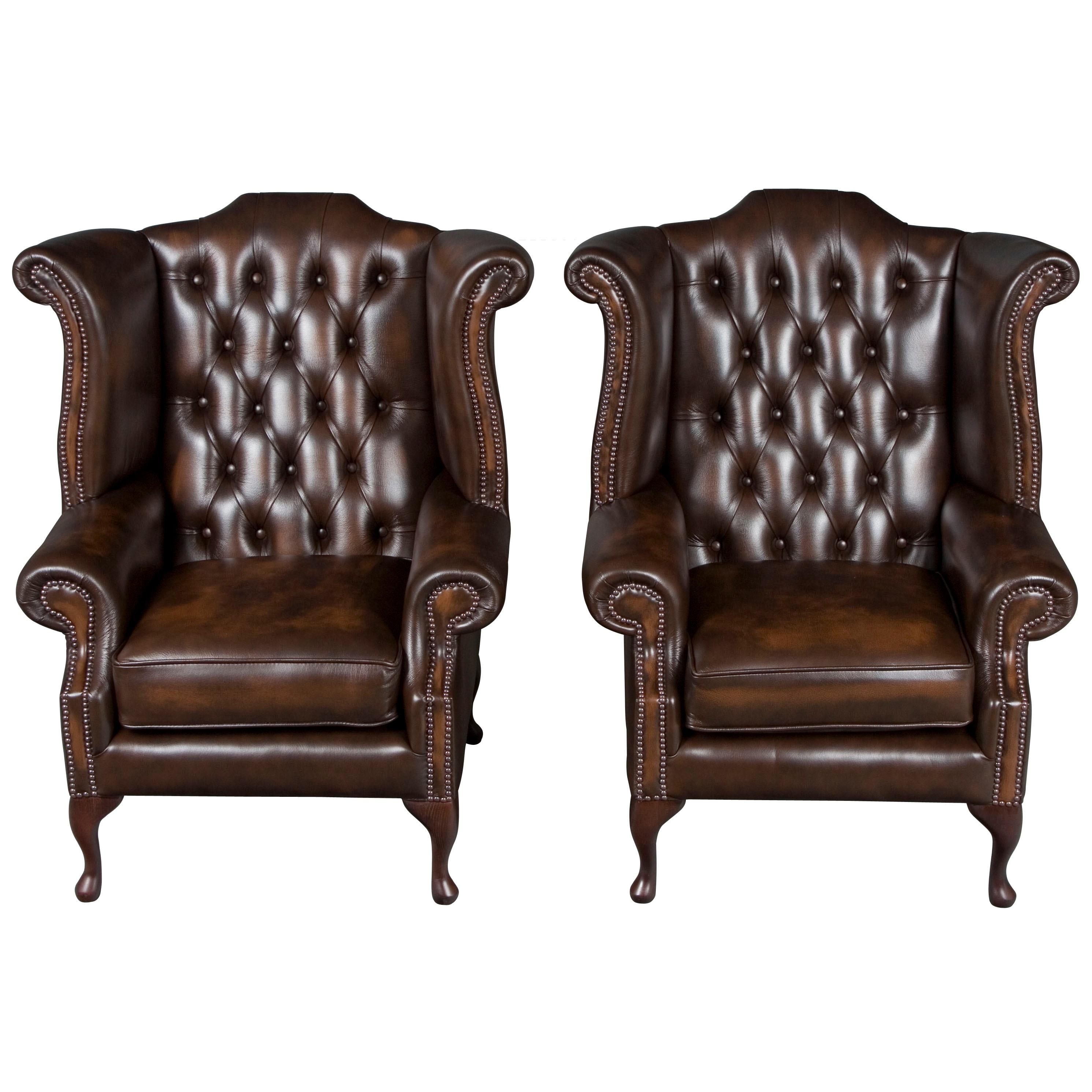 Superbe Pair Of Brown Tufted Leather Wingback Armchairs