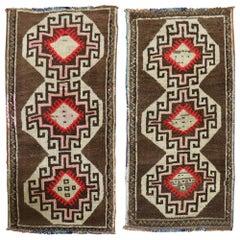 Pair of Brown Turkish Anatolian Rugs