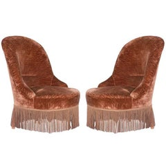 Pair of Brown Velvet Napoleon III Chauffeuses