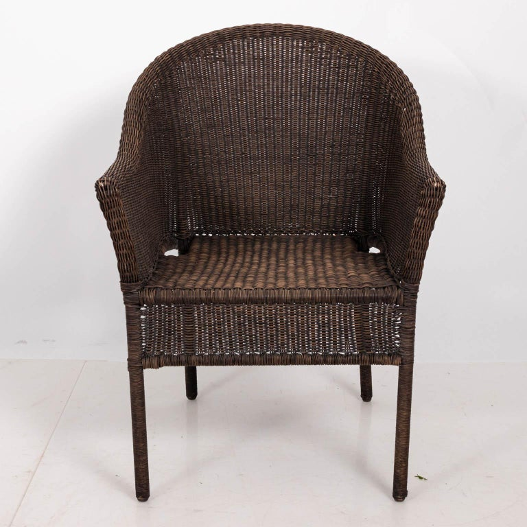Pair of Brown Wicker Armchairs For Sale at 1stdibs