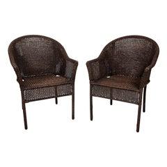 Pair of Brown Wicker Armchairs