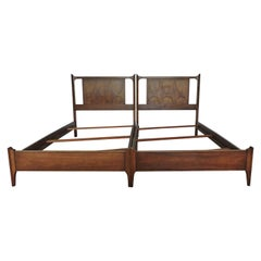 Pair of Broyhill Brasilia Mid-Century Modern Walnut Twin Beds