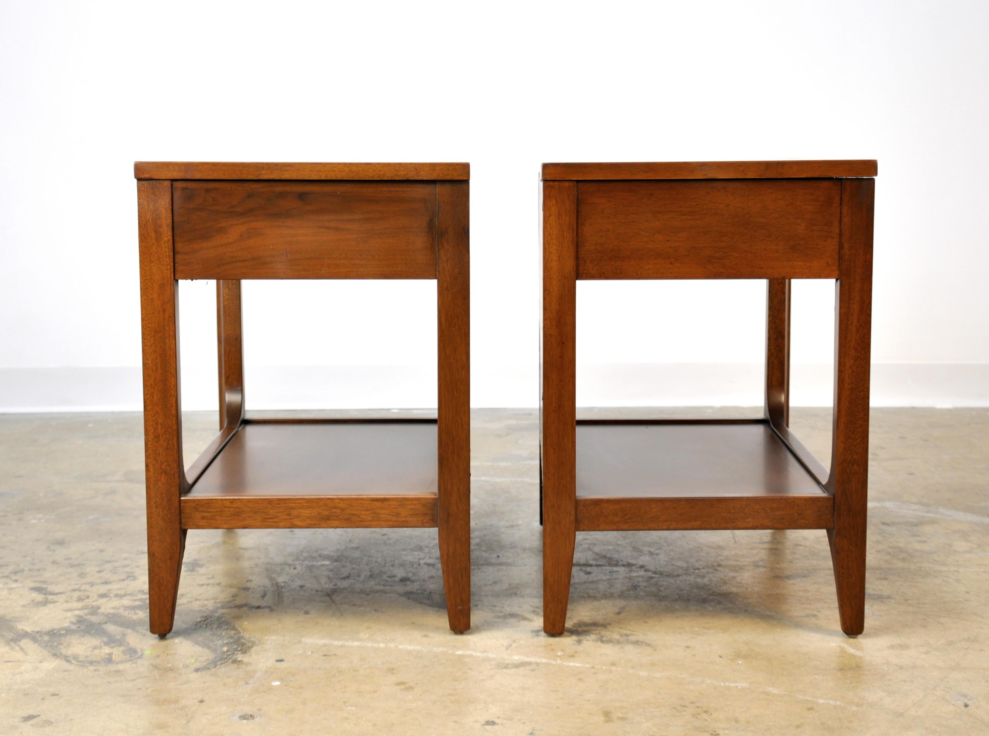 Pair Of Broyhill Brasilia Walnut And Brass Nightstands Or