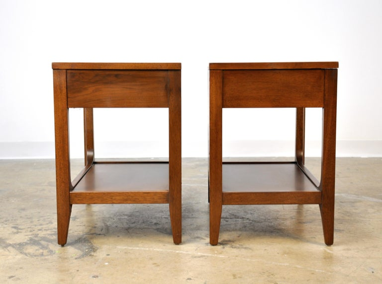 Mid-20th Century Pair of Broyhill Brasilia Walnut and Brass Nightstands or Side Tables For Sale