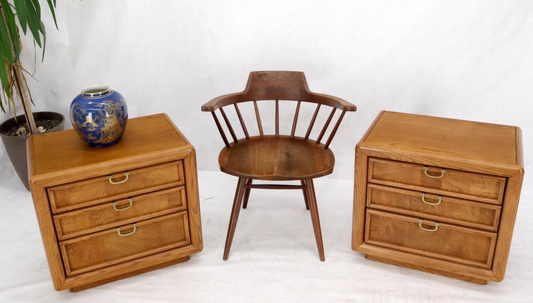 Pair of Mid-Century Modern 3 drawer oak and burl wood night stands by Broyhill.
