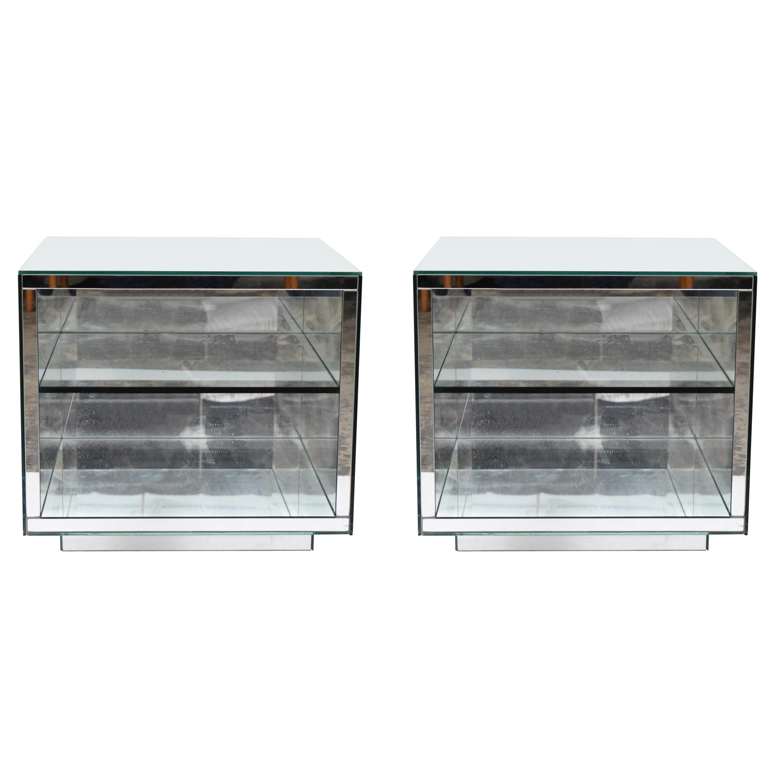 Pair of Brueton Mirrored Nightstands or Side Tables