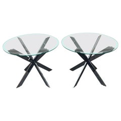 "Pair Of Brueton ""Popsicle"" Side Table Bases In Chrome 1970s"