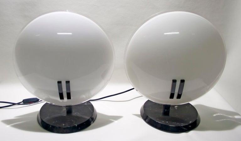 Crystal Pair of Bruno Gecchelin Italian Table Lamps