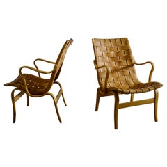 """Pair of Bruno Mathsson """"Eva"""" Easy Chairs in Brown Original Leather, Sweden 1960s"""