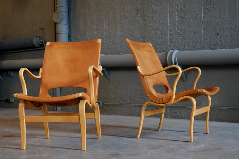 Pair of Bruno Mathsson Leather Eva Easy Chairs, 1960s For Sale 6