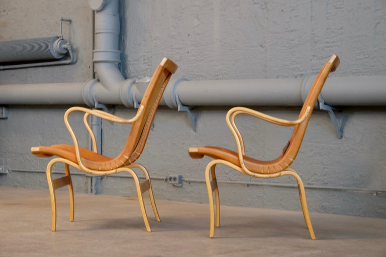 Pair of Bruno Mathsson Leather Eva Easy Chairs, 1960s For Sale 3