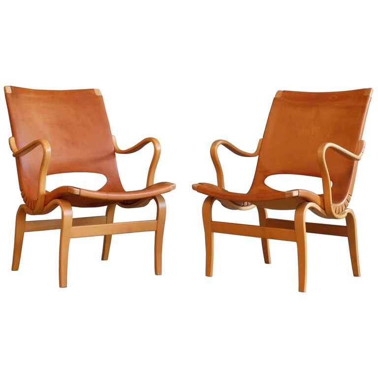 Pair of Bruno Mathsson Leather Eva Easy Chairs, 1960s For Sale