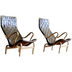 """Pair of Bruno Mathsson Leather """"Pernilla"""" Easy Chairs, 1970s"""