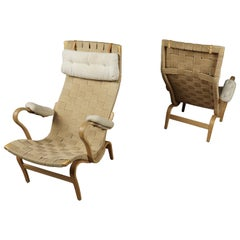 Pair of Bruno Mathsson Lounge Chairs, Model Pernilla, circa 1970