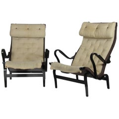 Pair of Bruno Mathssons Pernilla Lounge Chairs, Black, Sweden, 1970s, Add Value
