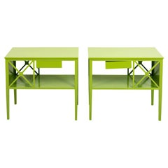 Pair of Brush Painted Green Modern Bedside Tables
