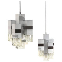 Pair of Brushed Aluminum and Glass Chandeliers, 1970s