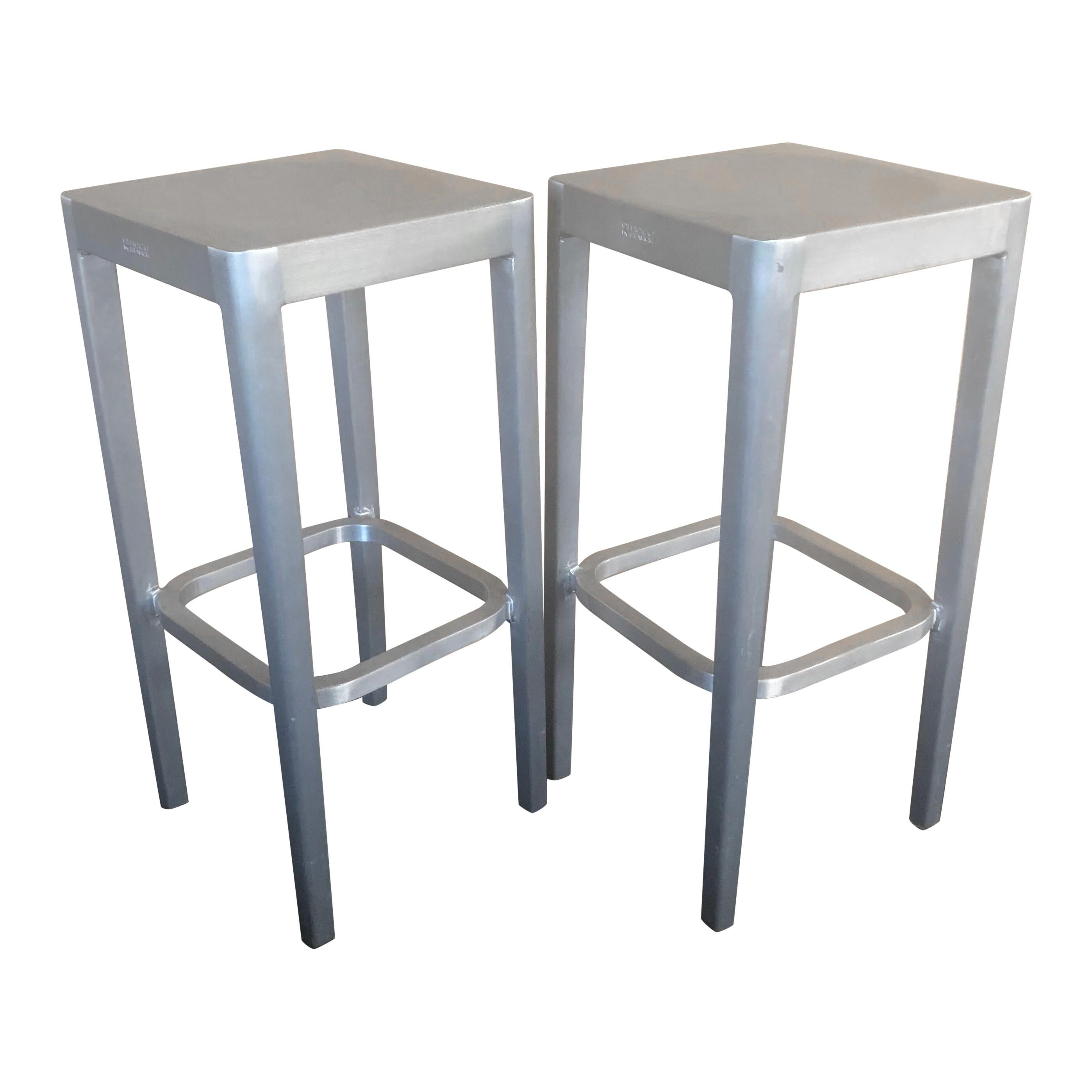 Pair of Brushed Aluminum Bar Stools by Philippe Starck for Emeco