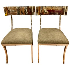 Pair of Neoclassical Style Polished Chrome Klismos Chairs
