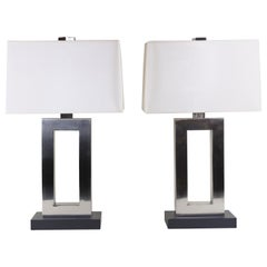 Pair of Brushed Chrome Table Lamps