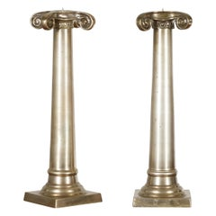 Pair of Brushed Silver over Bronze Column Candlesticks with Large Ionic Capitals