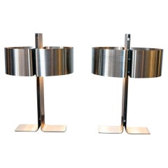 Pair of Brushed Stainless Steel Lamps by Michel Boyer