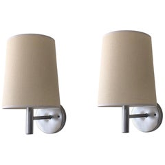 Pair of Brushed Stainless Steel Wall Scones by Walter Von Nessen