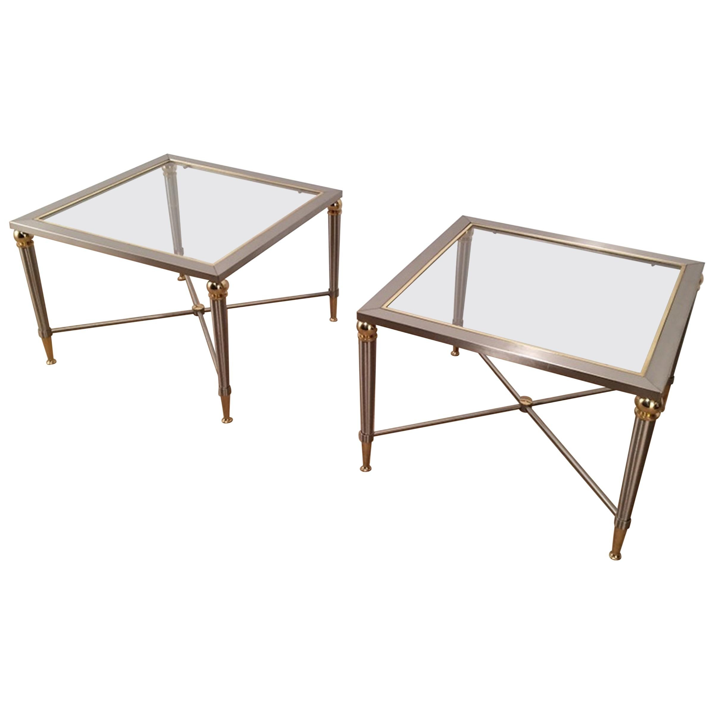 Pair of Brushed Steel and Brass Side Tables, circa 1970