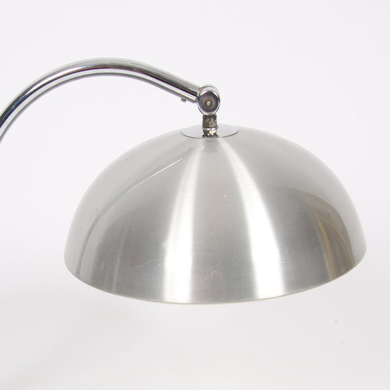 Late 20th Century Pair of Brushed Steel Desk Lamps For Sale