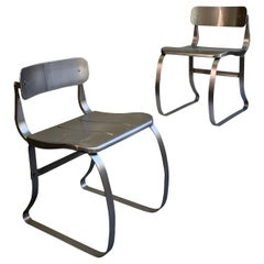 Pair of Brushed Steel Health Chairs by Herman Sperlich for Ironite