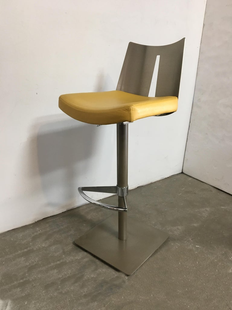 Surprising Pair Of Brushed Steel Swivel And Adjustable Barstools Or Countertop Stools Caraccident5 Cool Chair Designs And Ideas Caraccident5Info