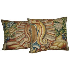 Pair of Brussels Tapestry Pillows, circa 17th Century 1711p 1712p  Y & B Bolour