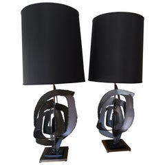 Pair of Iconic and Rare Brutalist Lamps for Laurel Lamp Company, 1960s
