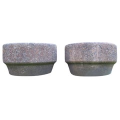 Pair of Brutalist 1970s Concrete Planters Plant Pots by Willow Lodge Crafts Glos