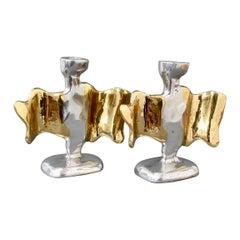 Pair of Brutalist Aluminium and Brass Candlesticks by David Marshall circa 1990s