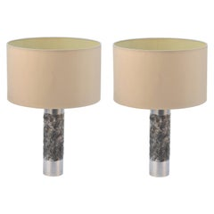 Pair of Brutalist Aluminum Table Lamp by Willy Luyckx, Aluclair, 1960's