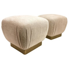 Pair of Brutalist Brass and Fabric Poufs by Marge Carson