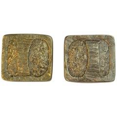Pair of Brutalist Bright Bronze Push and Pull Door Handles for Double Doors