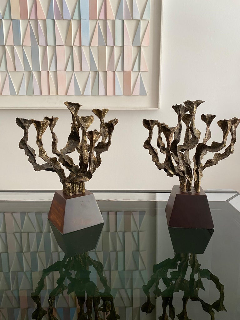 French Pair of Brutalist Bronze Candlesticks For Sale