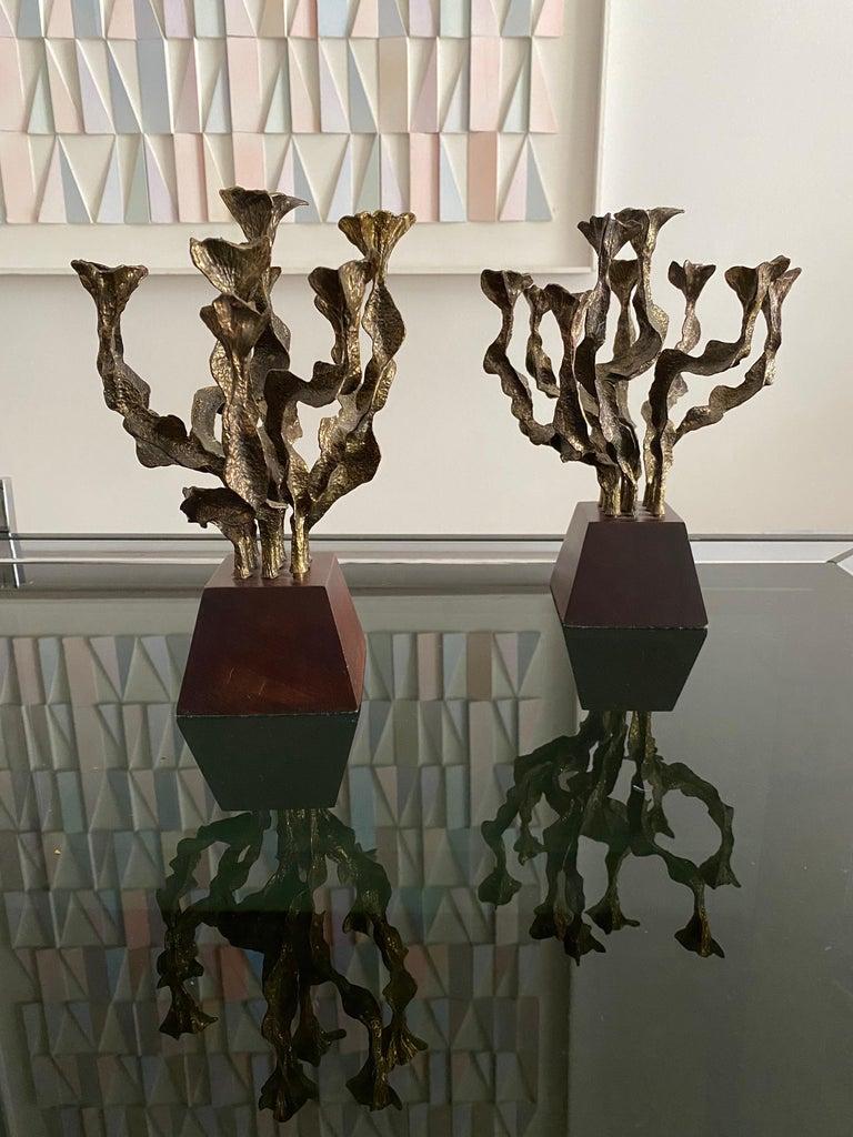 Pair of Brutalist Bronze Candlesticks For Sale 2