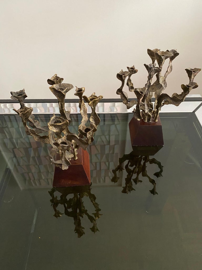 Pair of Brutalist Bronze Candlesticks For Sale 3