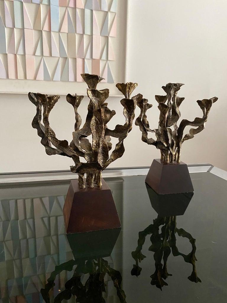Pair of Brutalist Bronze Candlesticks For Sale 4