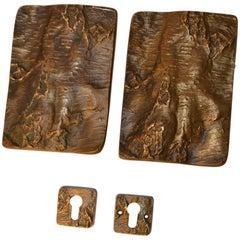 Pair of Brutalist Bronze Door Handles for Double Doors with Tree Bark Relief