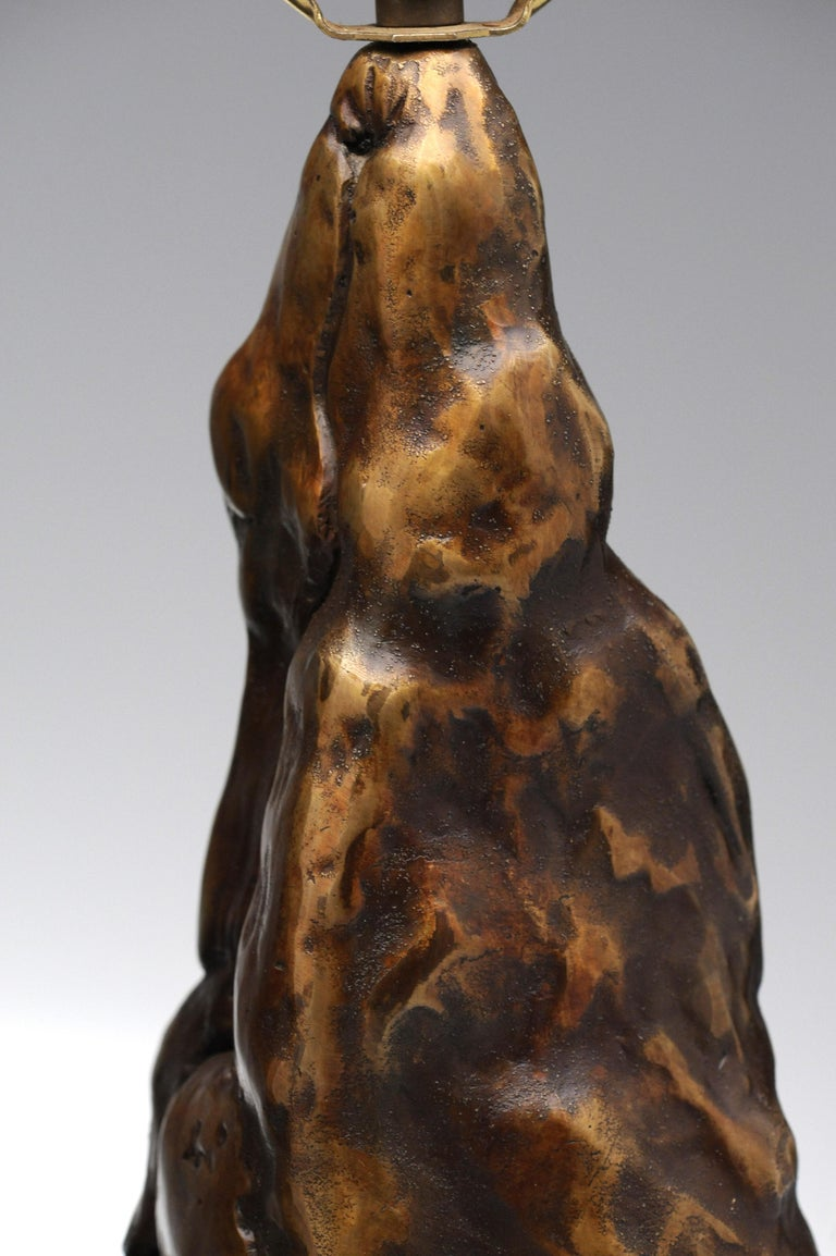 Vintage Pair of Brutalist Bronze Sculptural Table Lamps For Sale 7