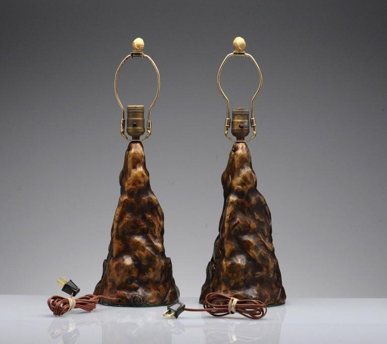 Vintage Pair of Brutalist Bronze Sculptural Table Lamps For Sale 11