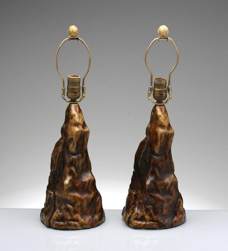 Vintage Pair of Brutalist Bronze Sculptural Table Lamps For Sale 12